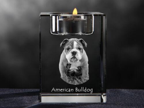 American Bulldog, crystal candlestick with dog, souvenir, Crystal Animals CA