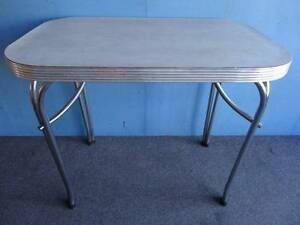 RETRO DINING KITCHEN TABLE BEIGE MARBLE LAMINATE TOP STEEL LEGS Geebung Brisbane North East Preview