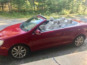 VOLKSWAGEN EOS 2008 red convertible hard top- rouge convertible
