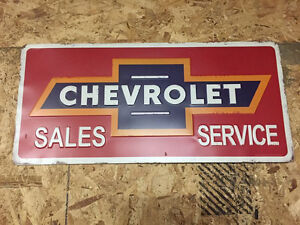 Chevrolet Sales Service Sign Metal GM Man-Cave