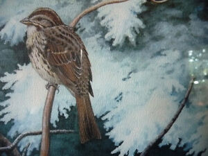 """Hand Signed, Numbered Lithograph by Peter Miehm """"Finches"""" 1981 Stratford Kitchener Area image 8"""
