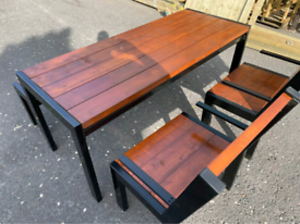 Wooden and steel framing heavy duty picnic tables