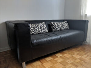 """Real leather black couch (Klippan) 71"""""""