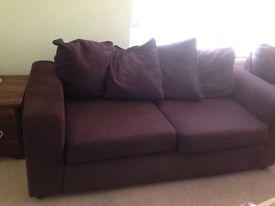 3 Seater Modern Brown Fabric Sofa