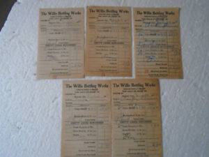 5 Willis Bottling Works 1950 Coca-Cola Coke Invoices/Receipts