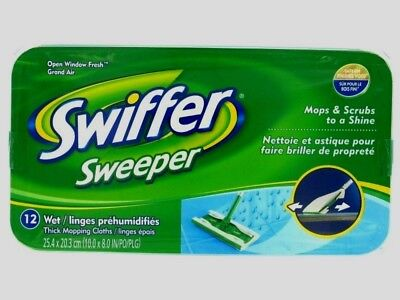 SWIFFER Sweeper Wet Mop Refills 12ct Cloths Pads Floor Cleaner System 35154 -