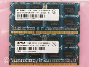 Mémoires vives de Laptop    elpida 2gb 2rx8 pc3-10600s-9-10-f1