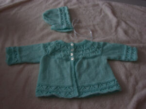 New Born Sweater and Bonnet- Green - Hand Knitted