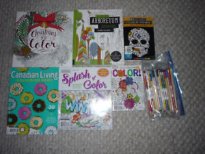 COLOURING BOOKS AND PENCILS