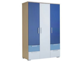Fully assembled Billie 3 Door 4 Drawer Wardrobe - Blue