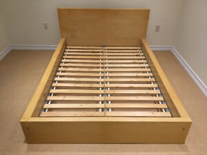 IKEA MALM DOUBLE BED WITH SIDE TABLE AND 3 DRAWERS