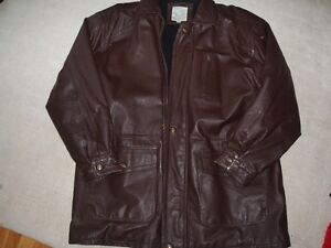 Mens 2XL (48-50) brown leather 3/4 lenght jacket