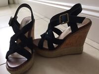 Dune black suede wedge sandals size 5 38
