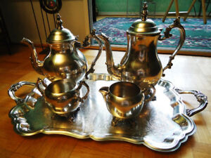 FB Rogers Silver Co Tray With Teapot Coffeepot Cream Sugar Set