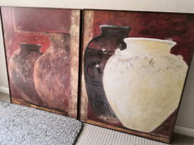 Matching large wooden framed pictures for sale.