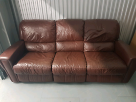 Leather electric recliner three seater sofa