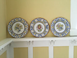 Decorative Floral Hanging Pottery Plates from Spain