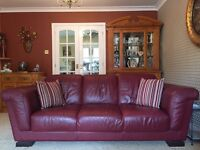 Quality Italian leather three seater sofa and two chairs