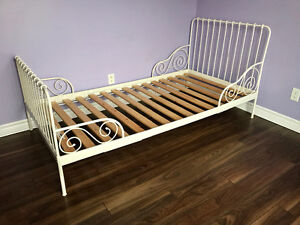 $50 - White metal twin bed frame