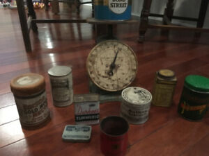 Old scale and tins