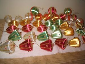 Lot of 37 beautiful vintage fancy satin christmas ornaments