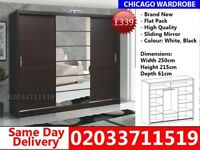 Brand New Chicago250cm Wide Sliding Mirror Wardrobe get your order today Lubbock