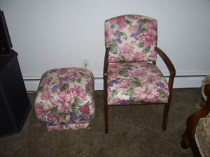 Antique (from 60's) occasional chair with ottoman