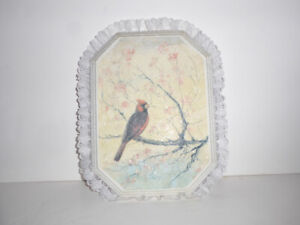 """""""CARDINAL IN A TREE"""" SPARKLING SNOW WINTER SCENE WALL PLAQUE"""