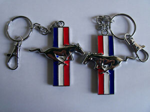 Mustang Horse Key Chain Fob Ring Keychain red white & blue metal London Ontario image 2