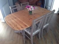 Pine shabby chic farmhouse table and chairs