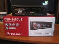 Pioneer deh-3400ub car stereo, like new