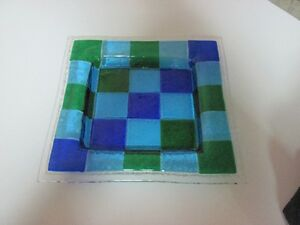 Multicolour Square Art Glass plate