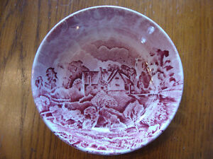 4 RED TRANSFERWARE COASTERS SCENES AFTER CONSTABLE BY GRINDLEY London Ontario image 2