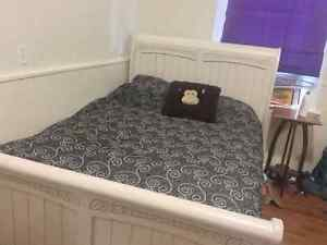 Double bed set. Bed, mattress. Vanity and chest