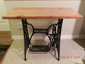 Wood Table on Antique Singer Sewing Machine Base
