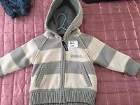 BENCH grey and beige thick zip cari/coat 6-12 month.