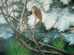 """Hand Signed, Numbered Lithograph by Peter Miehm """"Finches"""" 1981 Stratford Kitchener Area image 2"""