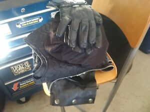Harley leather chaps, helmet and gloves