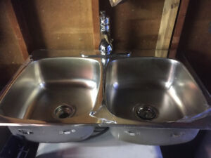 Stainless steel double sink and kitchen Faucet
