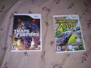 Need for speed nitro et transformer Wii