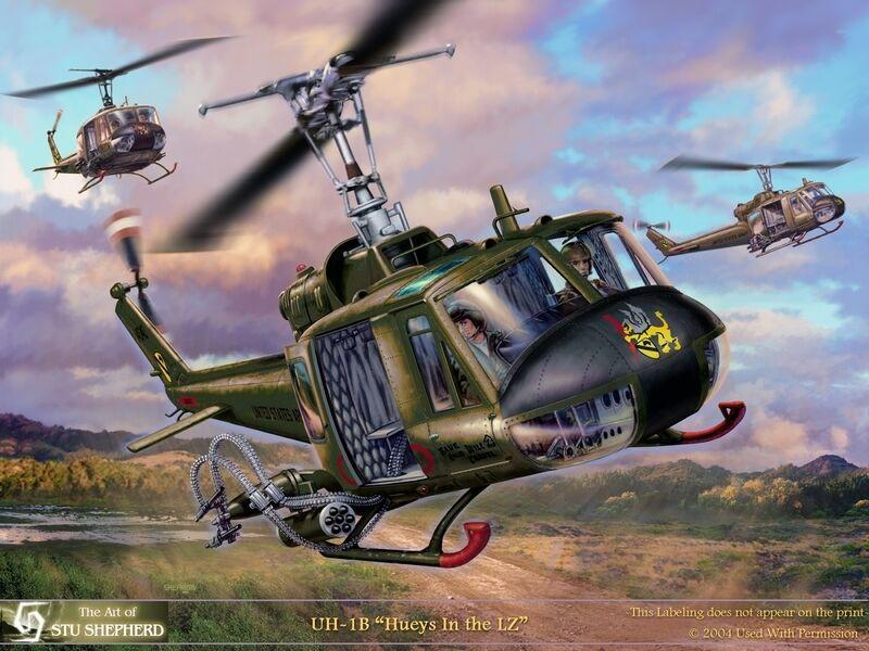 ART PRINT:  UH-1 Hueys in the LZ - Print by Shepherd