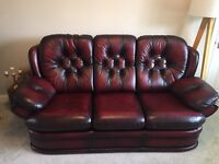 Saxon Leather Chesterfield Cambridge 3 Seater Sofa Antique Red/Oxblood
