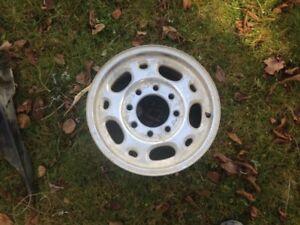 Tire with steel rim and additional aluminum rim