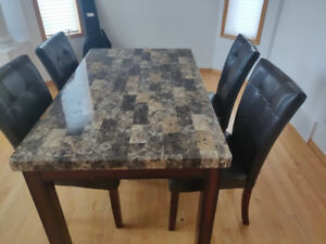 Fake marble top dinning table with 4 chairs