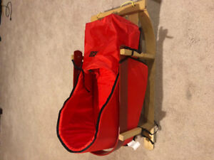 Baby wooden sled with cushion