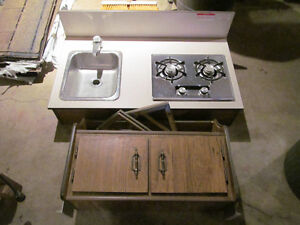 Trailer sink, propane stove top and cabinet
