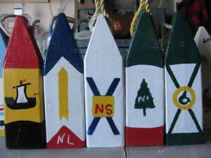 Buoys in Prov Flag Colors and Boat House Signs/Name