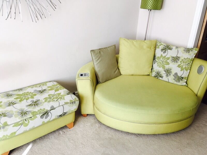Dfs Apple Green Cuddle Couch Footstool And 3 Seater Sofa