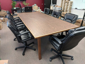 Wooden Office Boardroom/Conference Table and 8 Chairs