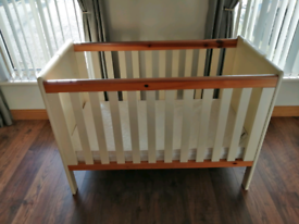 Cream and pine cot with mattress